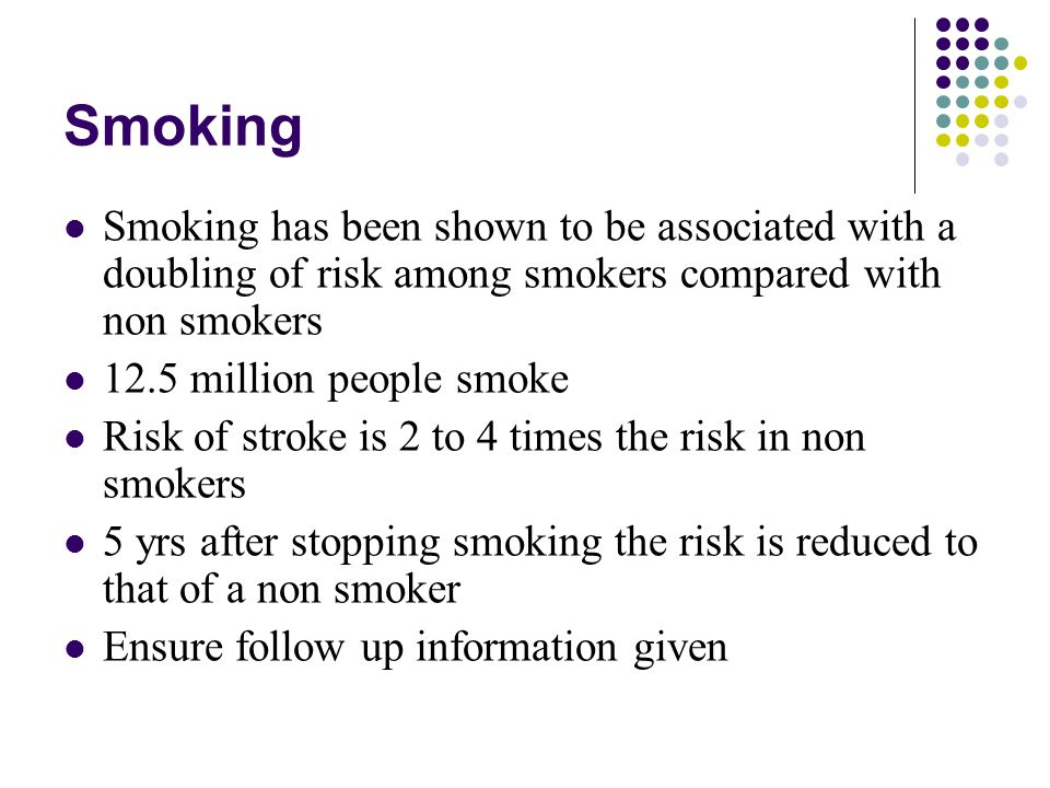 Smoking Smoking has been shown to be associated with a doubling of risk among smokers compared with non smokers.