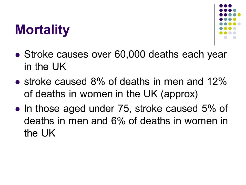 Mortality Stroke causes over 60,000 deaths each year in the UK