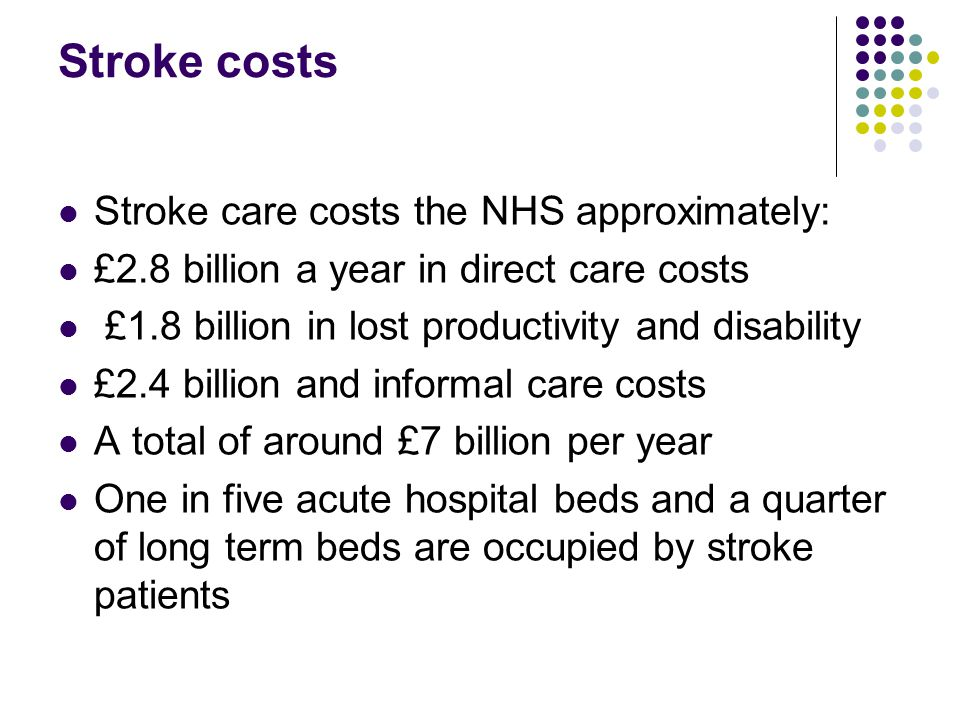 Stroke costs Stroke care costs the NHS approximately: