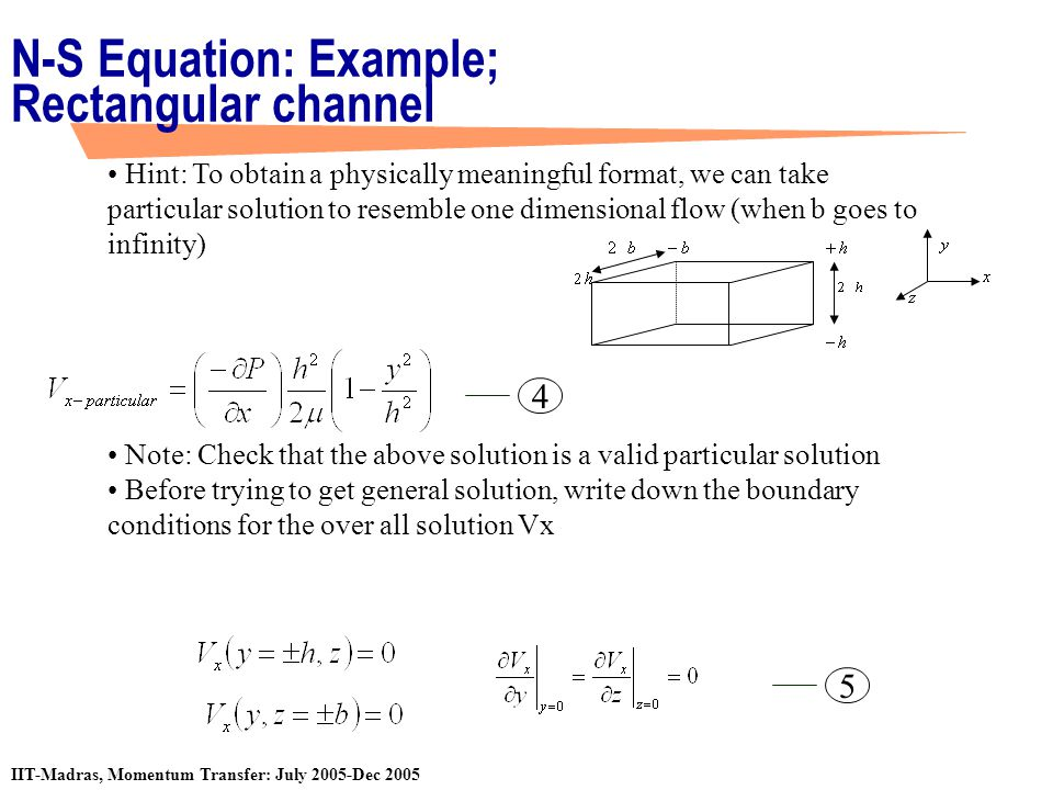 N-S Equation: Example; Rectangular channel