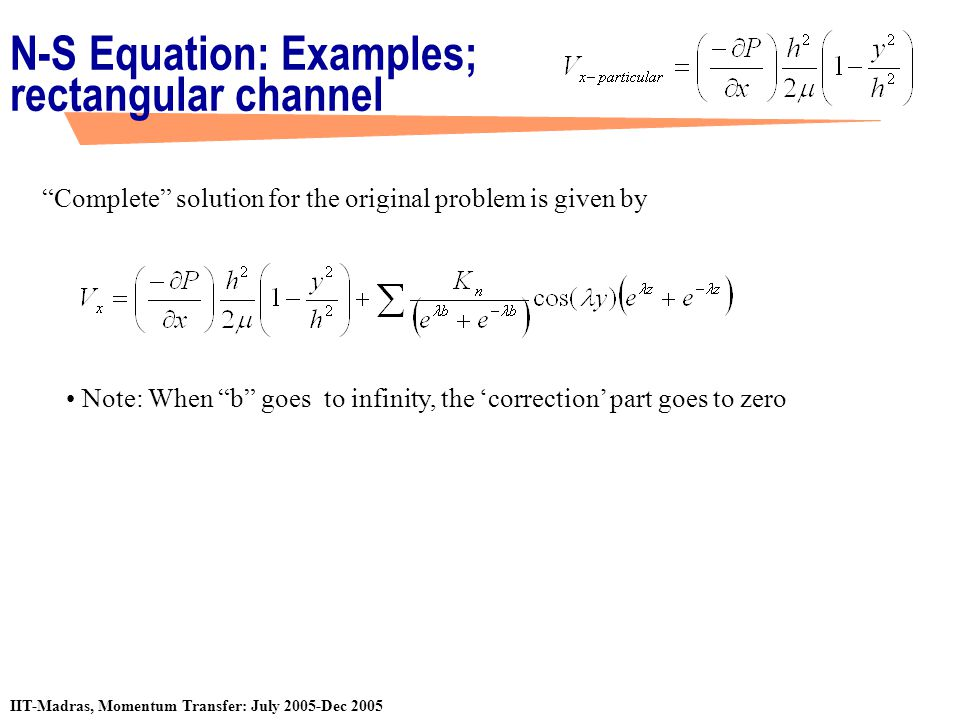 N-S Equation: Examples; rectangular channel