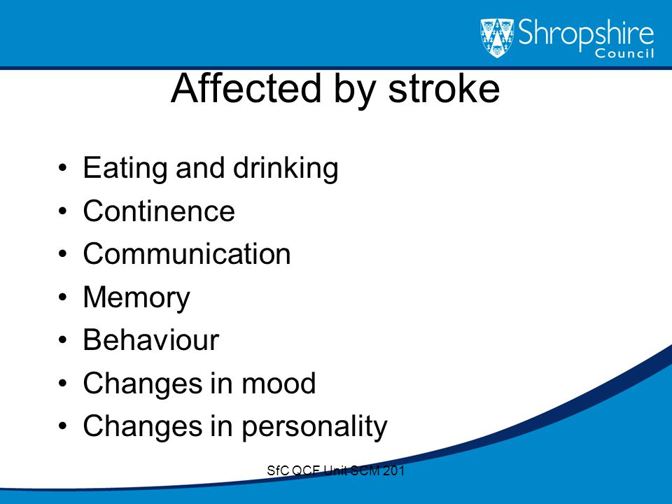 Affected by stroke Eating and drinking Continence Communication Memory