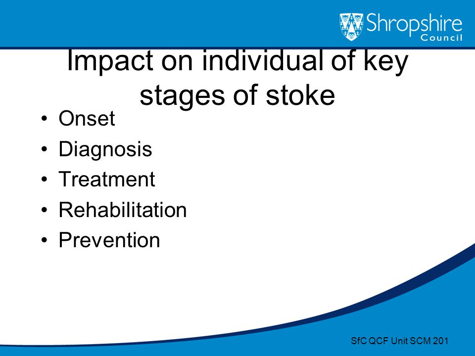 Impact on individual of key stages of stoke