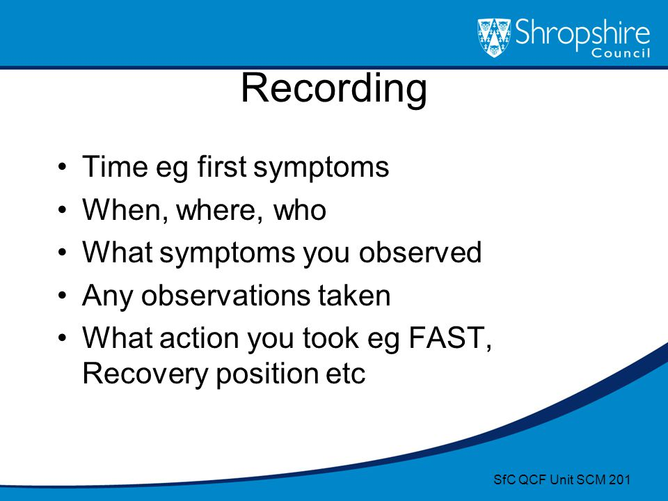 Recording Time eg first symptoms When, where, who