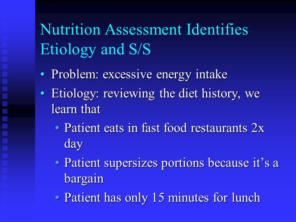Nutrition Assessment Identifies Etiology and S/S