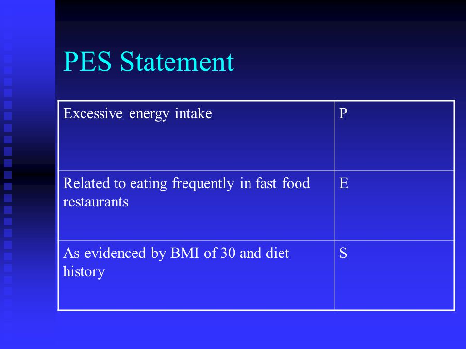 PES Statement Excessive energy intake P