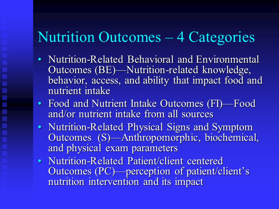 Nutrition Outcomes – 4 Categories
