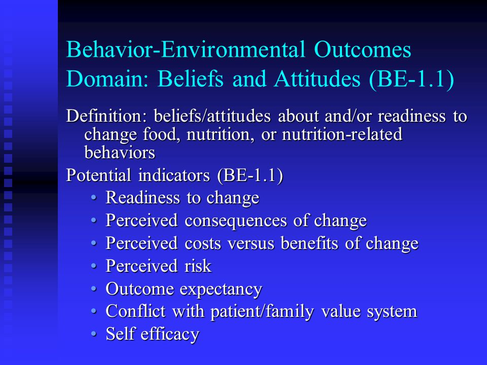 Behavior-Environmental Outcomes Domain: Beliefs and Attitudes (BE-1.1)