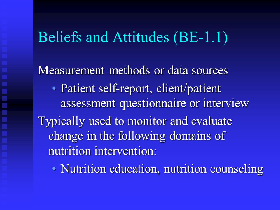 Beliefs and Attitudes (BE-1.1)