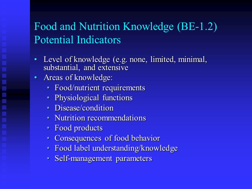 Food and Nutrition Knowledge (BE-1.2) Potential Indicators