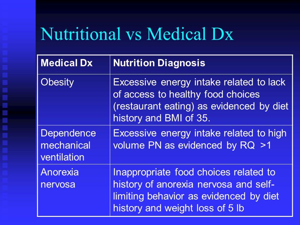 Nutritional vs Medical Dx