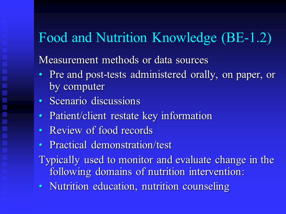 Food and Nutrition Knowledge (BE-1.2)