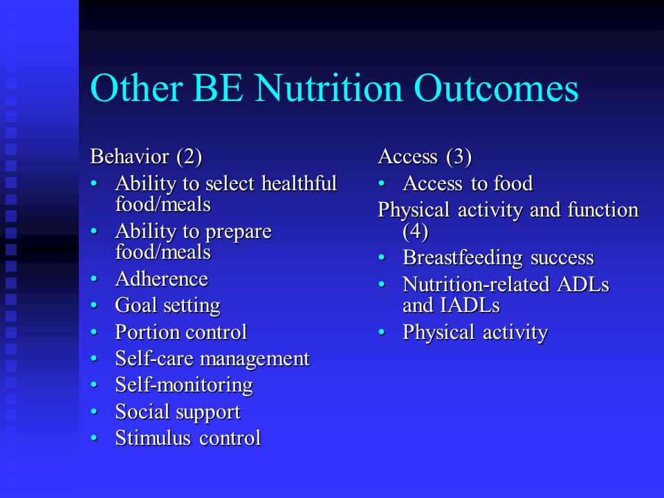 Other BE Nutrition Outcomes