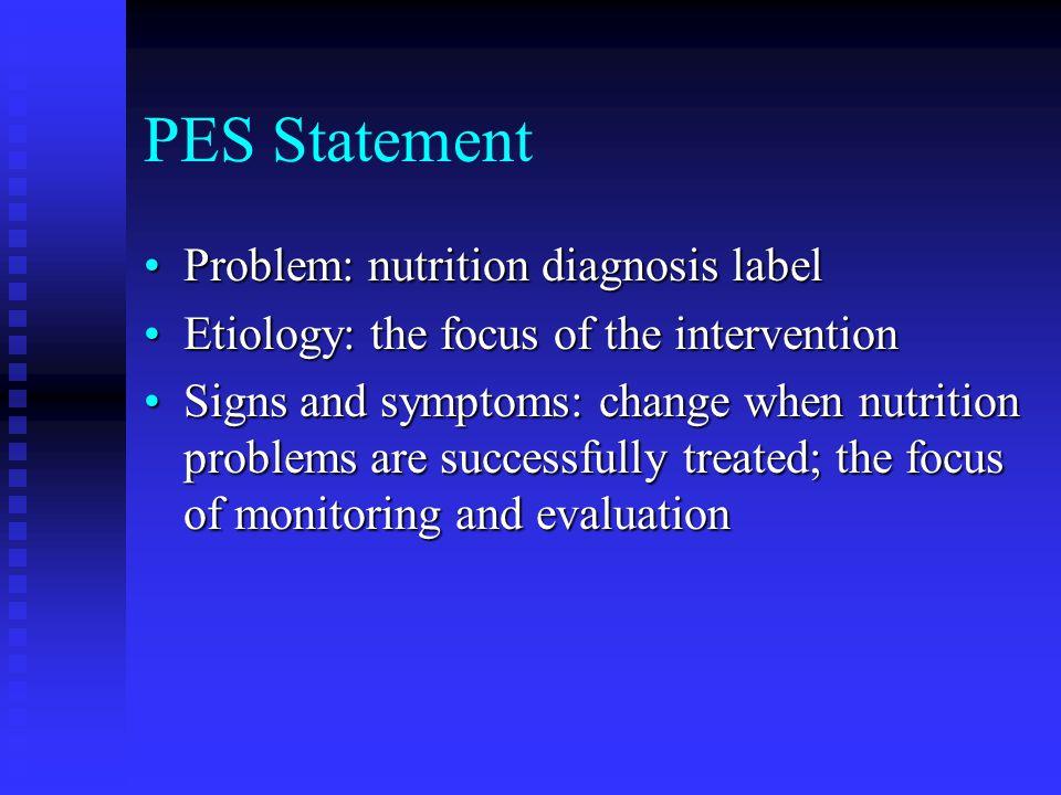 PES Statement Problem: nutrition diagnosis label