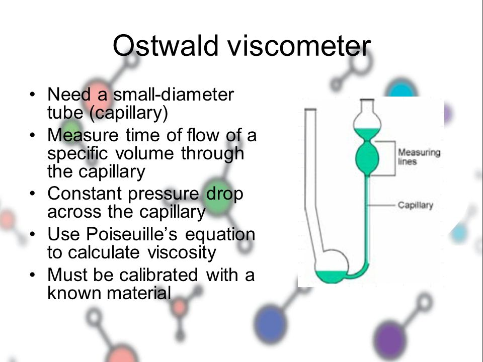 Ostwald viscometer Need a small-diameter tube (capillary)