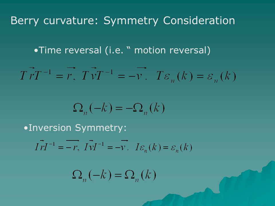 Berry curvature: Symmetry Consideration