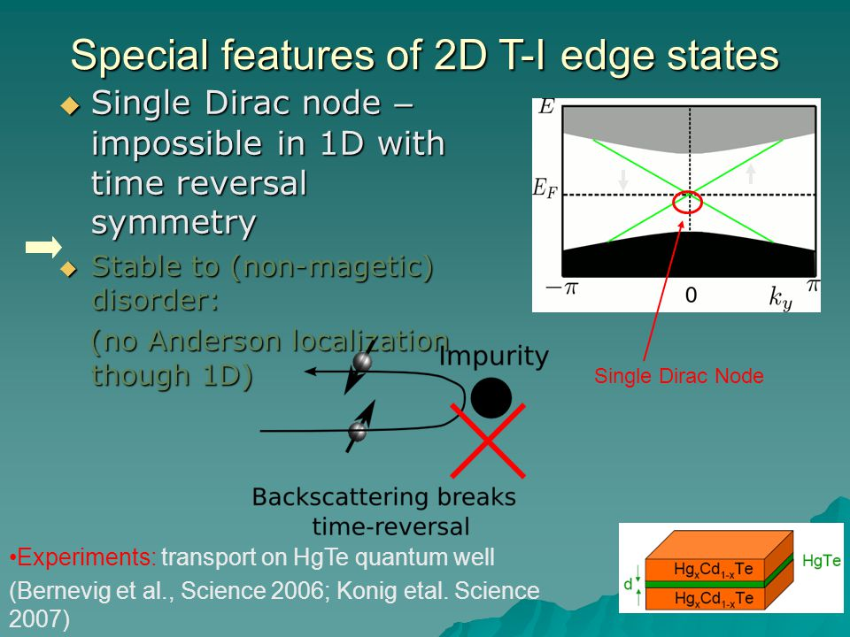 Special features of 2D T-I edge states