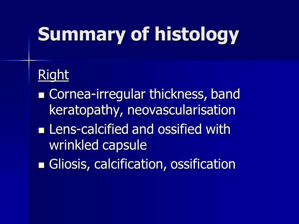 Summary of histology Right