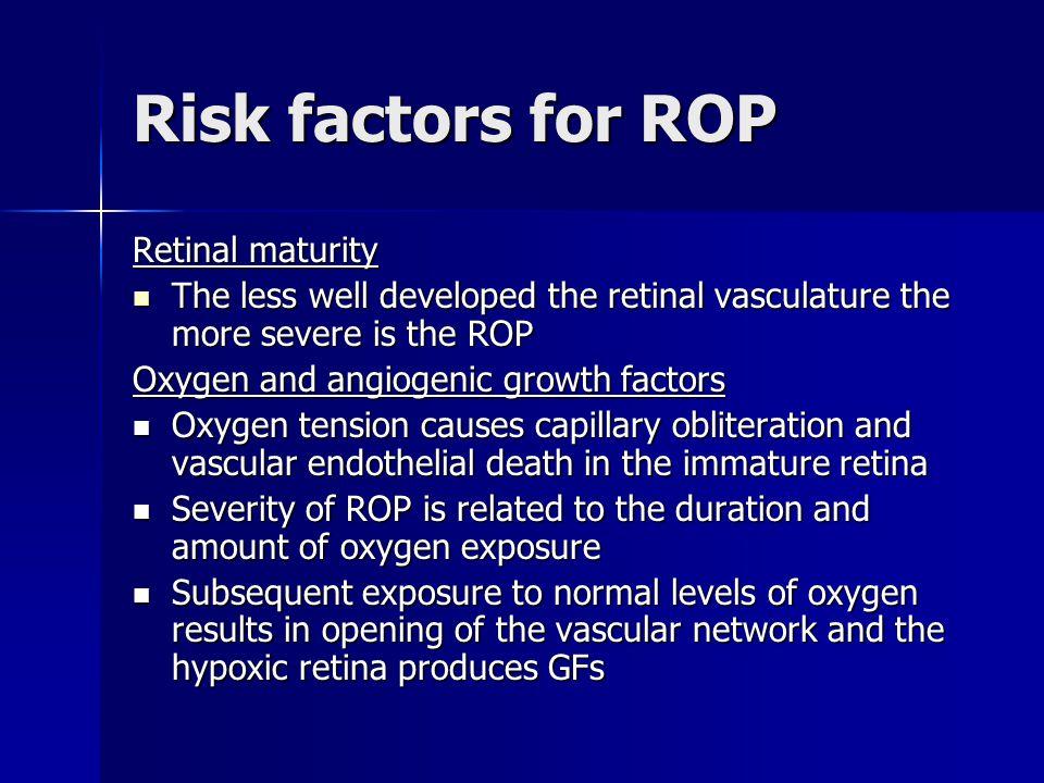 Risk factors for ROP Retinal maturity