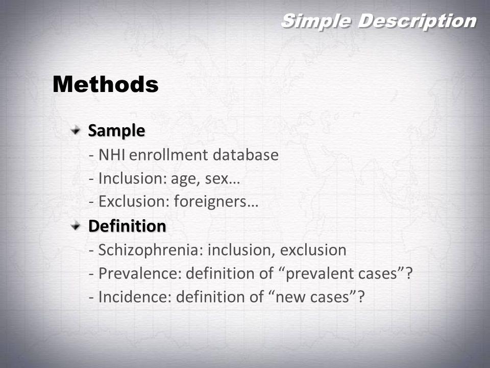 Methods Simple Description Sample Definition - NHI enrollment database