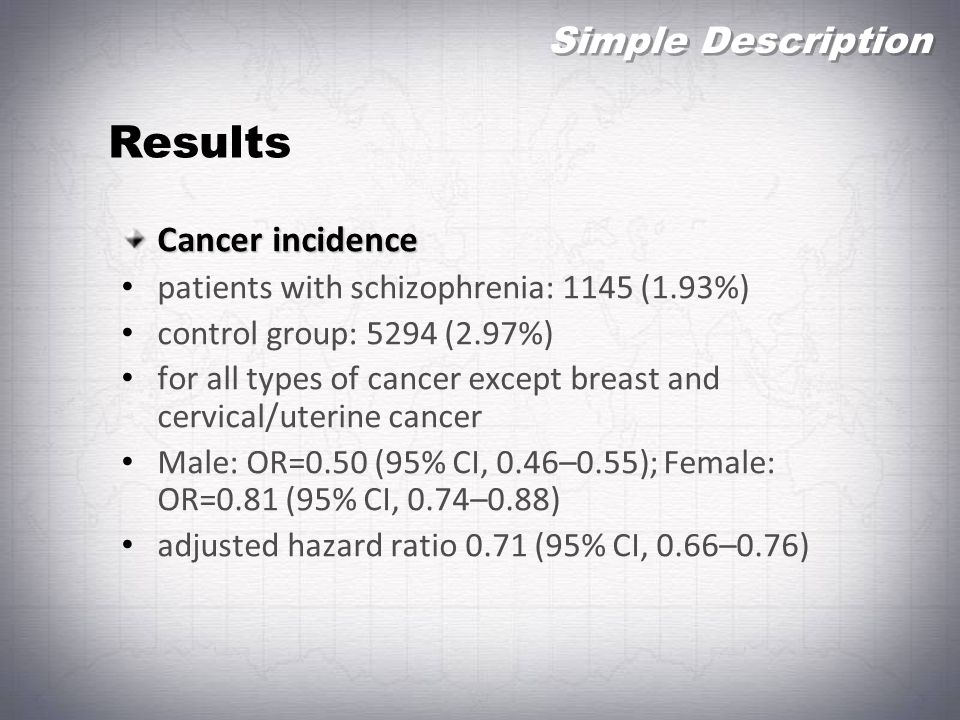 Results Simple Description Cancer incidence