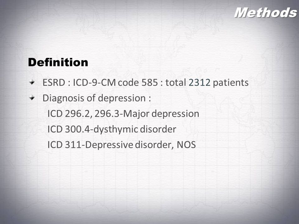 Methods Definition ESRD : ICD-9-CM code 585 : total 2312 patients