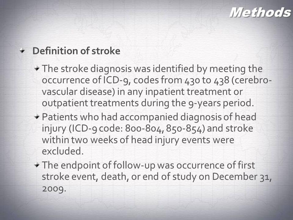 Methods Definition of stroke
