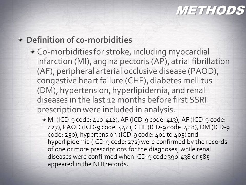 METHODS Definition of co-morbidities