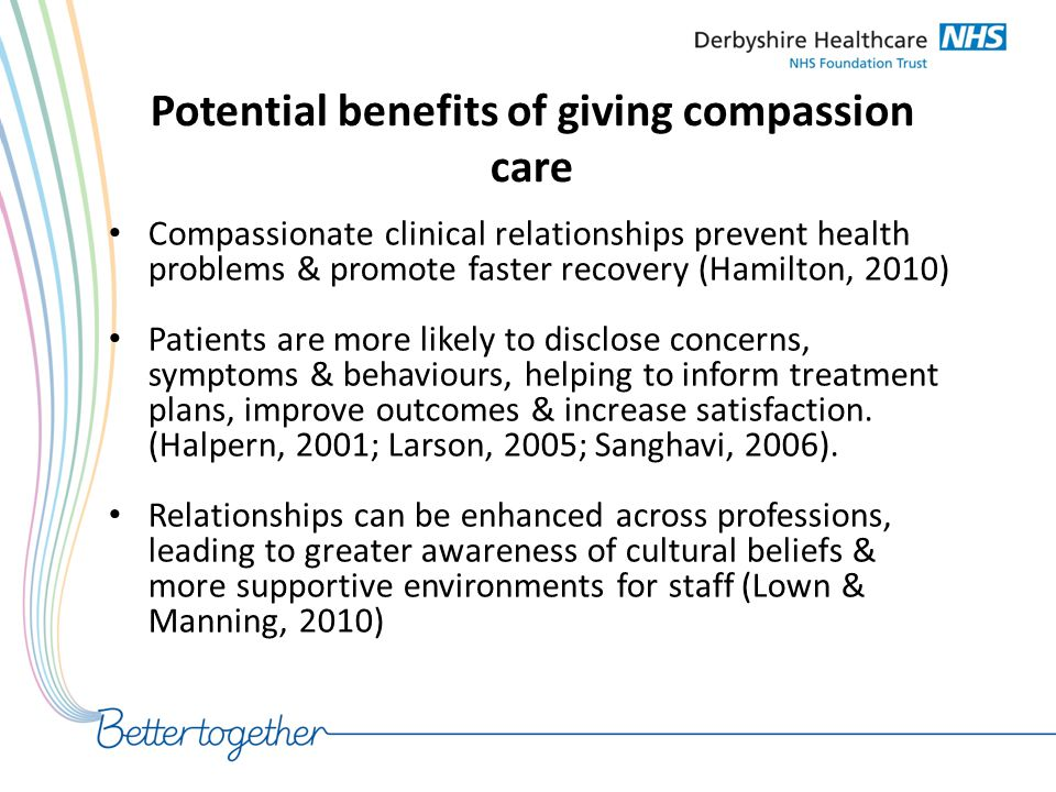 Potential benefits of giving compassion care