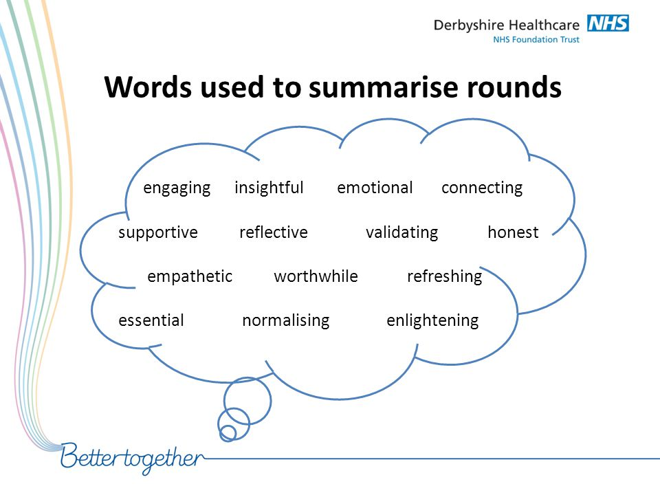 Words used to summarise rounds