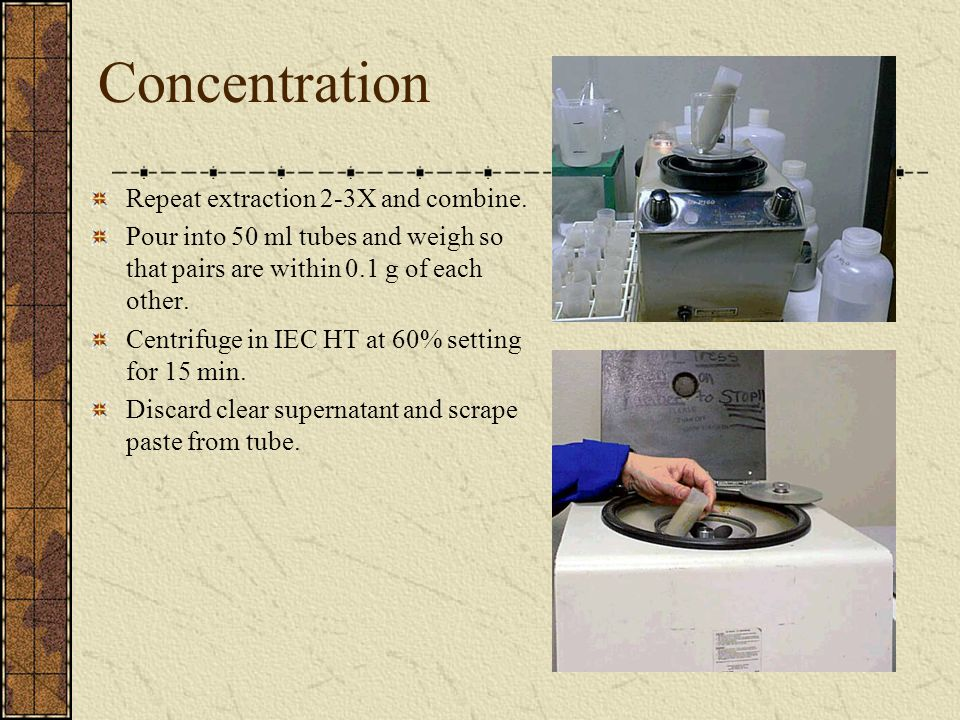 Concentration Repeat extraction 2-3X and combine.
