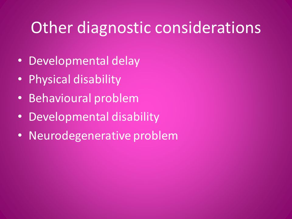 Other diagnostic considerations