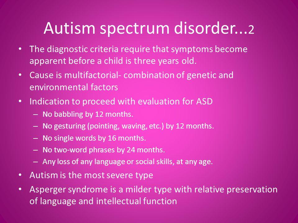 Autism spectrum disorder...2