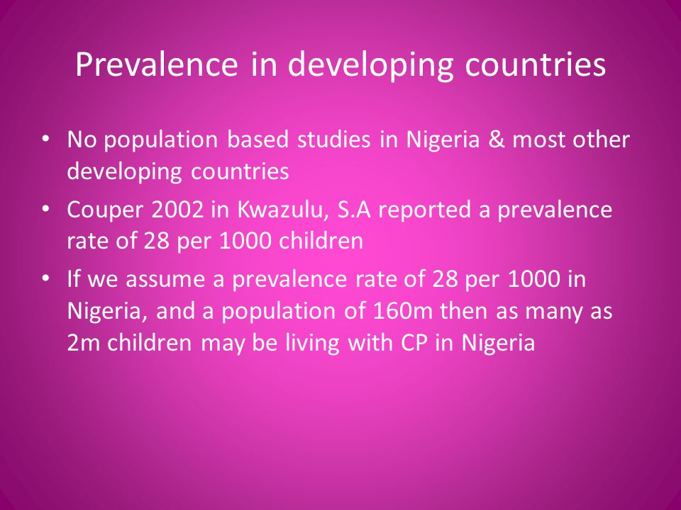 Prevalence in developing countries