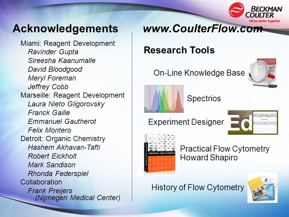 Acknowledgements www.CoulterFlow.com