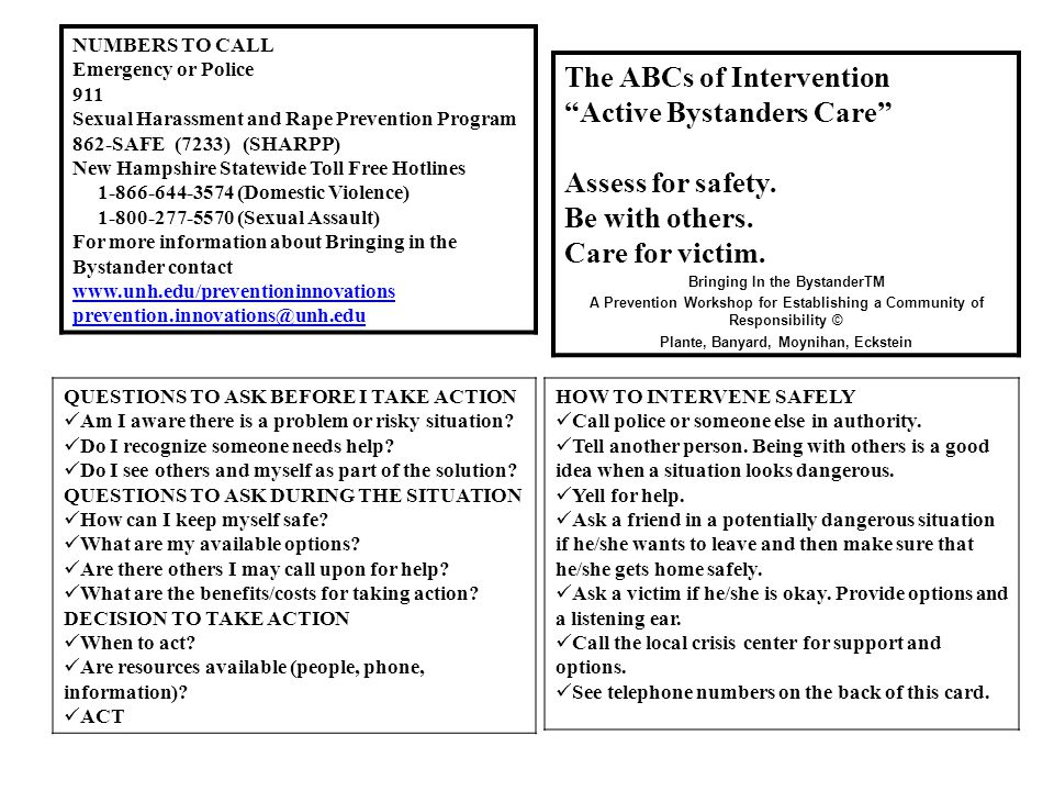 The ABCs of Intervention Active Bystanders Care Assess for safety.