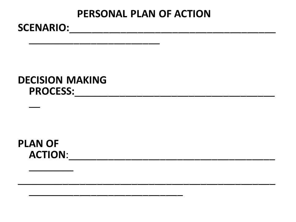 PERSONAL PLAN OF ACTION