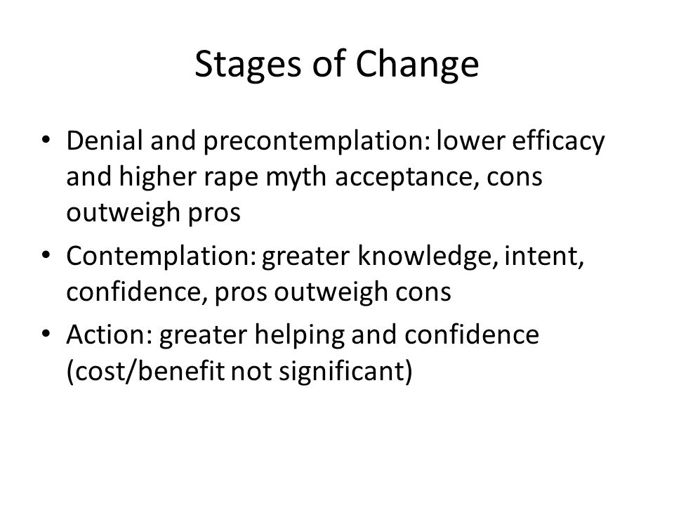 Stages of Change Denial and precontemplation: lower efficacy and higher rape myth acceptance, cons outweigh pros.