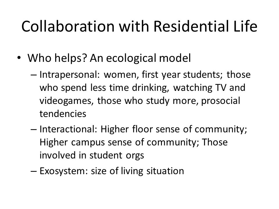 Collaboration with Residential Life
