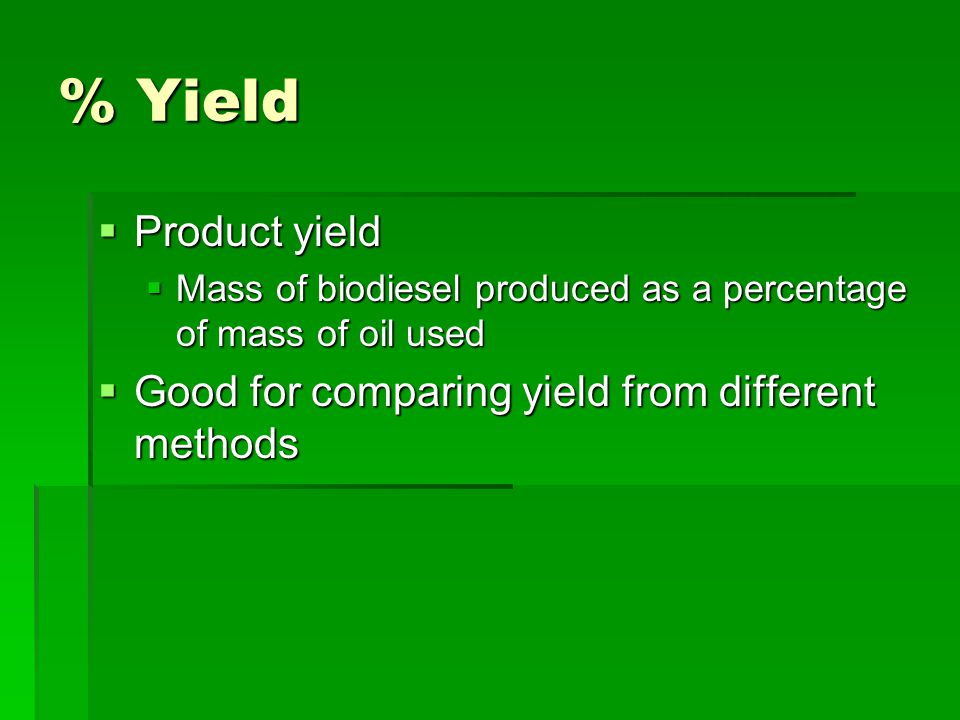 % Yield Product yield Good for comparing yield from different methods