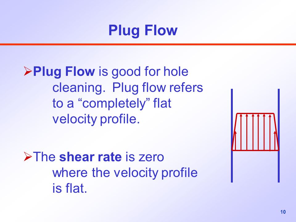 Plug Flow Plug Flow is good for hole cleaning. Plug flow refers to a completely flat velocity profile.