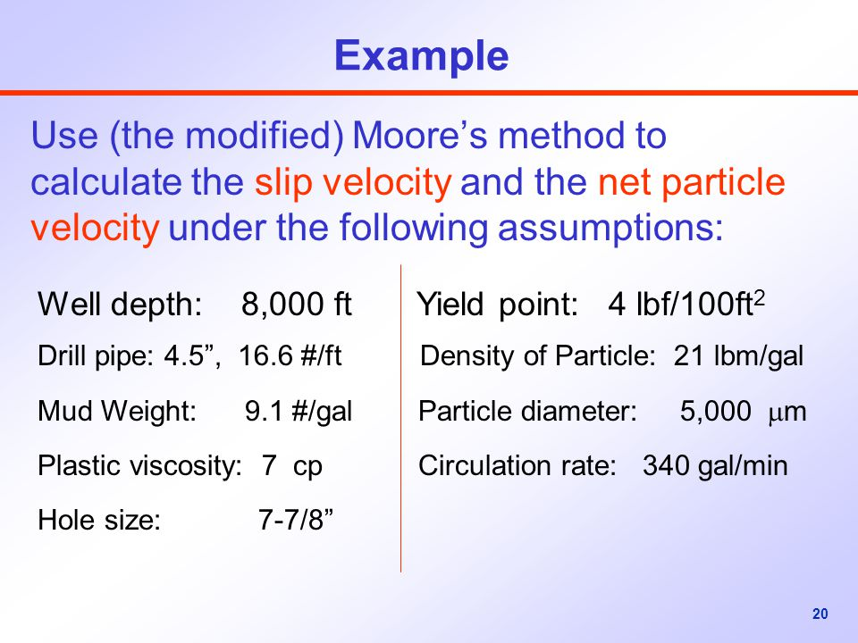 Example Use (the modified) Moore's method to calculate the slip velocity and the net particle velocity under the following assumptions: