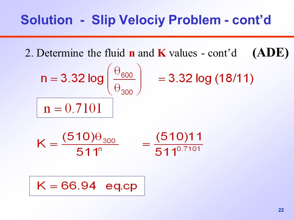 Solution - Slip Velociy Problem - cont'd