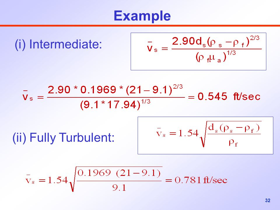 Example (i) Intermediate: (ii) Fully Turbulent:
