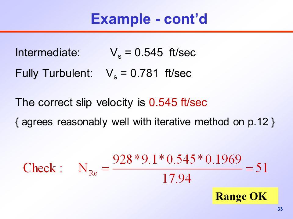 Example - cont'd Intermediate: Vs = 0.545 ft/sec