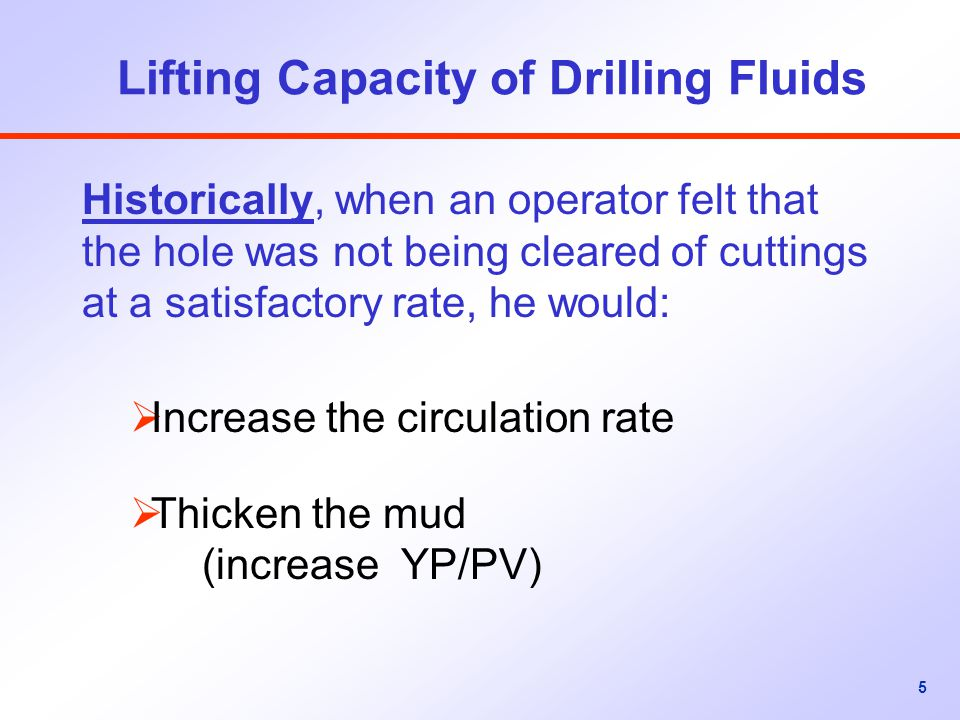Lifting Capacity of Drilling Fluids