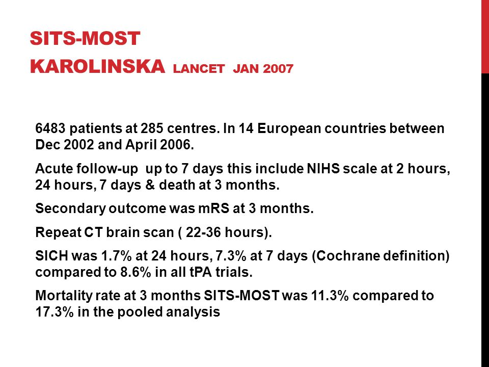 SITS-MOST Karolinska Lancet JAN 2007
