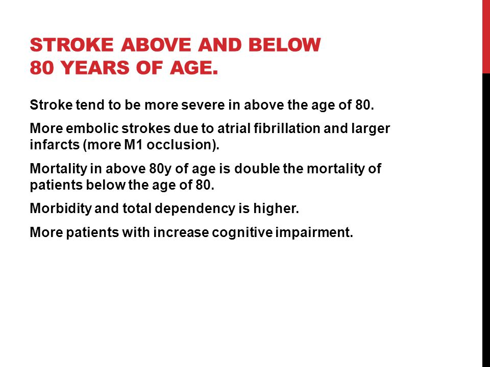Stroke above and below 80 years of age.