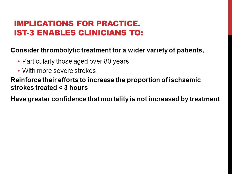 Implications for practice. IST-3 enables clinicians to: