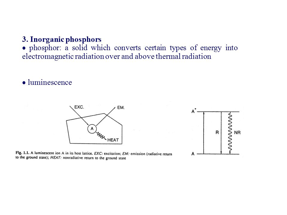 3. Inorganic phosphors  phosphor: a solid which converts certain types of energy into electromagnetic radiation over and above thermal radiation.